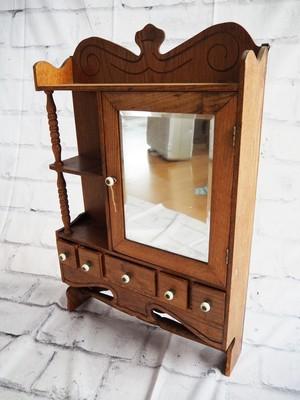 品番3937 ミニキャビネット ドレッサー 鏡台 木製 ヴィンテージ