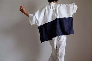切り替え ワイド Tシャツ / LLサイズ / コットン オックス【 オフ白と紺 】ボーダー / wide Tshirt cotton oxford【off-white & navy blue 】