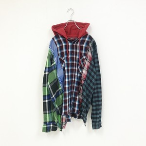 REMAKE HOOD CHECK SHIRT(GREEN)