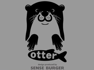 人気 カワウソ ステッカー コツメカワウソ otter かわいい fish 魚 川獺 シール 車に貼れる 黒 ブラック