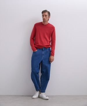 RED  COTTON V-NECK SWEATER [153421377211]