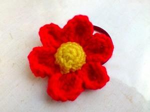 お花のヘアーゴム レッド