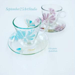 父の日ギフト【空色コスモス】水色 耐熱ガラスの名入れ珈琲コーヒーカップ・ティーカップ|還暦祝い・誕生日