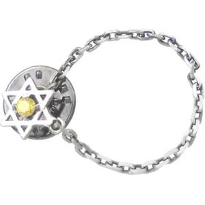 イエローC Z ヘキサグラム 六芒星 チェーン シルバー ピンバッジ ピンズ*BK-1109
