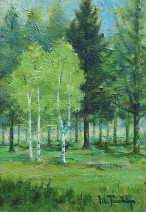 「新緑の白樺」油彩画 SM