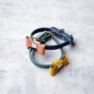 組み合わせ自由 イタリアンレザーブッテーロのリボン付き首輪