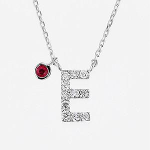 Initial K18WG Diamond【E】Pendant Necklace with Charm (ダイヤモンド イニシャル【E】ペンダントネックレス チャーム付き)