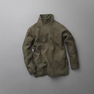 CURLY (カーリー)163-33101 【CLOUDY MOC NECK】 ビッグワッフル ジャガード モックネック カットソー (3色)