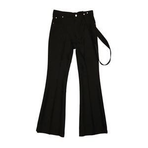 STRAP FLARE PANTS / BLACK