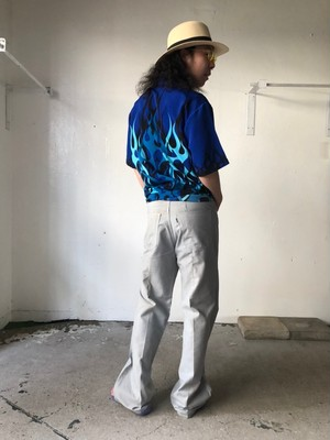 S/S Polyester shirts Fire pattern