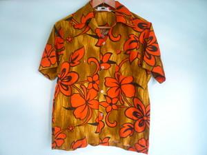 ビンテージ 縮緬コットン ハワイアンシャツ 茶 オレンジ系 花柄 /60s 70s OLD アロハシャツ