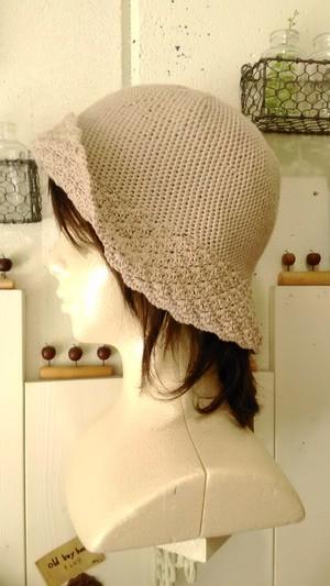 坂田敦子 サマーハット(模様編み・cotton100%)