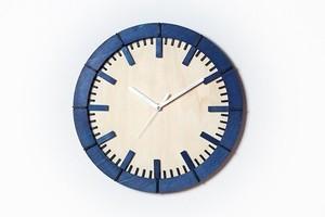 「モダン」 (ネイビーブルー)木製掛け時計