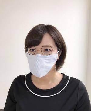 【Mサイズ】メガネマスク ライトブルーストライプ