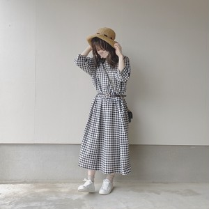 gingham check one-piece[3/17n-7]