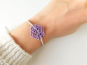 水引と組み紐のブレスレット あわじ編み color:バイオレット