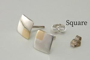 SquareW7+C - 四角いピアス +真鍮<スタッド>