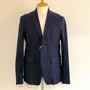 Stretch Linen Tailored Jacket Navy
