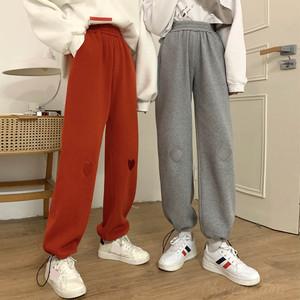 【ボトムス】超人気シンプルレギュラー丈刺繍ハイウエストカジュアルパンツ37599932