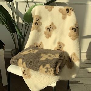 bear blanket 70*100 3colors / ベア ブランケット テディーベア 膝掛け 毛布 布団 韓国雑貨
