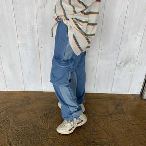 [即納]韓国ファッション バイカラーデニムカーゴパンツ