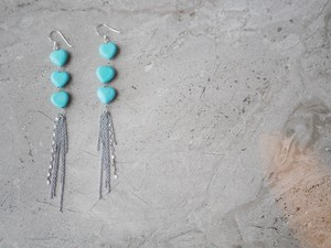 turquois heart earring/pierce *silver