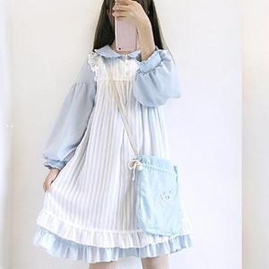 【ワンピース】2点セット日系ファッション長袖スウィートカジュアルワンピース