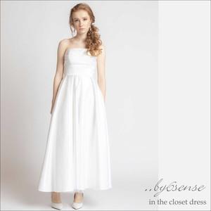 ロングサテンドレスドレス 結婚式 パーティー ロング丈 花嫁 イブニングドレス white Sサイズ~XXLサイズ