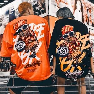 【トップス】男女兼用hippop図柄シンプルファッションプリントTシャツ27811345