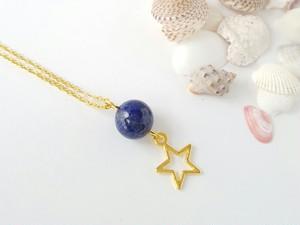 ラピスラズリと星のネックレス