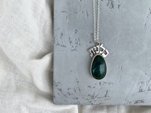 〈vintage silver925〉green stone design necklace