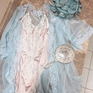 baby blue vintage lace gown