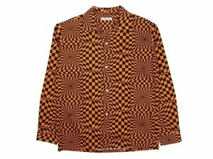 F-LAGSTUF-F ACID CHECKER L/S SHIRTS ORANGE×BLACKサイズM