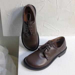 つま先が丸い革靴 レトロ風 レディライク 柔らかい オックスフォード 革靴