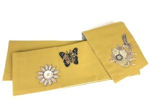 インドビーズ刺繍の半幅帯 イエロー