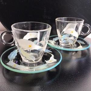 【カラー】ガラスのコーヒーティーカップ&ソーサー1客|花・母の日ギフト・父の日ギフト・結婚祝い・還暦祝い