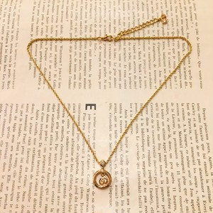 Christian Dior circle × logo necklace