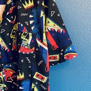 スケボー&スカルのクレイジーカラーアロハシャツ