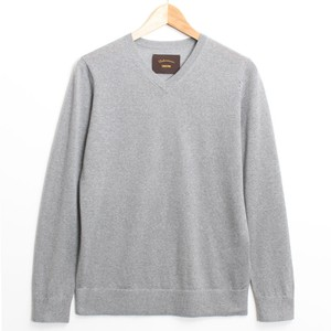 Italian Cashmere V-neck Knit -Top Gray