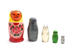 Traditional Semenov Animals Matryoshka 5 piece [GOUACHE]