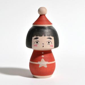 クリスマスこけし 約2.5寸 約8cm 長谷川優志 工人(津軽系)#0079