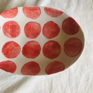 砥部焼  atelier chie お皿 赤dot