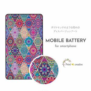 【全機種対応】モバイルバッテリー(ピンクモロッコタイル)ディスパージョンアート 強化ガラス