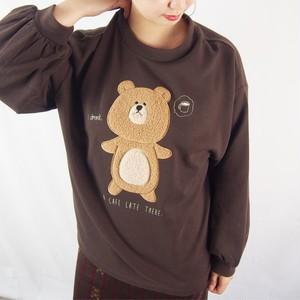 カフェラテくまボア刺繍PO(チョコレート)#322037