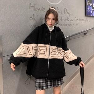 【アウター】ファッションフード付き韓国系配色ジッパーコート35125734
