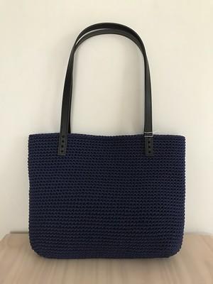 手編みバッグ スクエアショルダー トート 紺