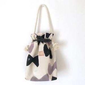 手染めのキャンバス巾着バッグ / ribbon
