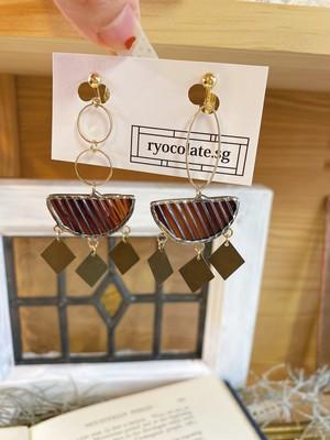 茶色マーブルガラスのイヤリング♡ピアス変更可