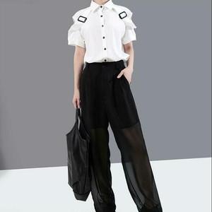 モード系 トップス 半袖 シャツ ショルダーストラップ ノースリーブ ホワイト ブラック ストリート系 原宿系 オルチャン 20代 30代