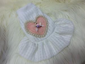 ★かわいい犬服ワンピ/ドレス  スノーホワイトパールドレス